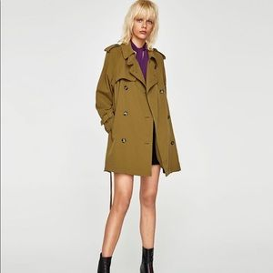 Zara dirty olive color trench coat with pockets M